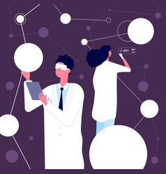 researching scientist man in white lab coat vector image