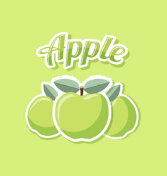Retro apples with title on green background vector