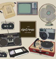 retro home appliances hand draw vector image