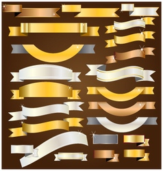 Ribbon goldsilvercopper vector