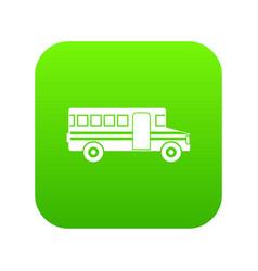 school bus icon digital green vector image