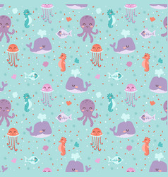 sea animals seamless pattern fish corals starfish vector image vector image