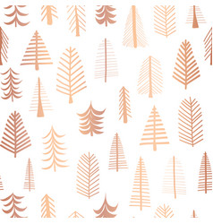 seamless christmas tree copper foil pattern vector image