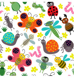 seamless pattern with insect vector image