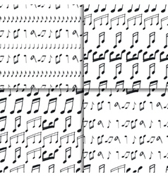 Seamless patterns with music notes vector image