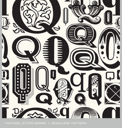 seamless vintage pattern letter Q vector image
