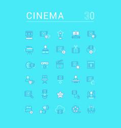 Set linear icons cinema vector