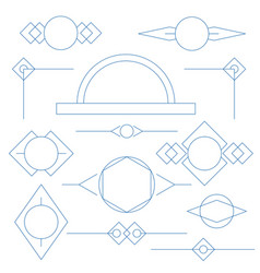 set of blue linear graphic stylized frames and vector image