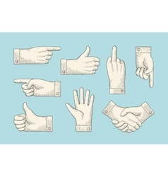 Set of vintage drawing hand signs in engraving vector