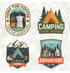 set summer camp patches concept print vector image