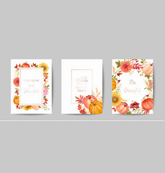 set thanksgiving day greeting invitation card vector image