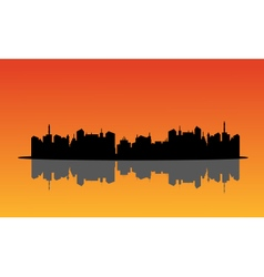 Silhouette of city and reflection vector image