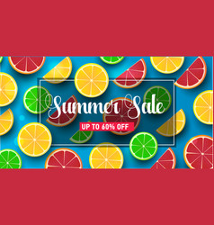 Summer background with citrus slices on blue vector