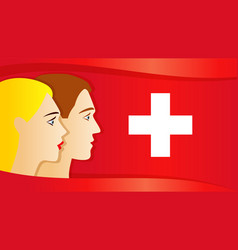 swiss confederation day people on switzerland flag vector image
