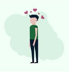 the guy thinks about love vector image