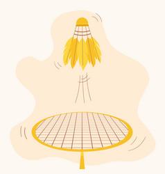 Throw badminton shuttlecock with racket vector