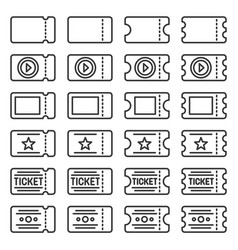 ticket icons set on white background line style vector image