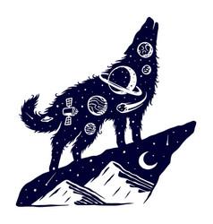 Universe wolf design vector