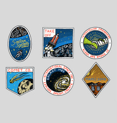 vintage space logo exploration of the vector image