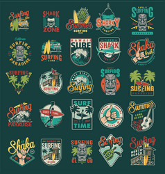 vintage summer surfing labels set vector image