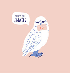 White owl holding letter in claw speech bubble vector