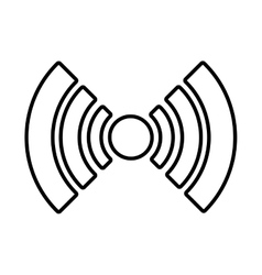 White radar icon with circle and stripes vector