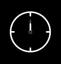 White thin line clock icon 12 oclock vector