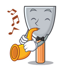 With trumpet cartoon putty knife in plaster vector