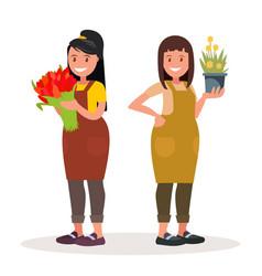 Women florists workers flower shop vector