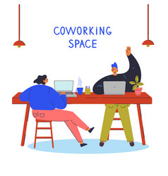 Young people in coworking spaceco-working concept vector