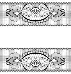 Black lace frame for vintage card decoration vector image