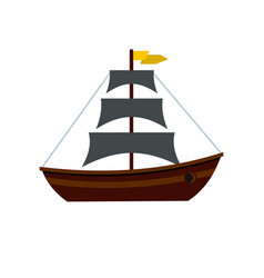 boat with sails icon flat style vector image