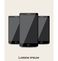 Three mobile phones vector image vector image