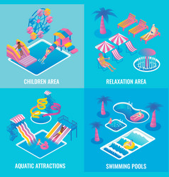 water park flat isometric poster set vector image vector image