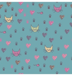 A seamless pattern of cats footprint prints vector image