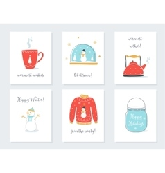 Christmas New Year and Winter Holidays Cards with vector image vector image