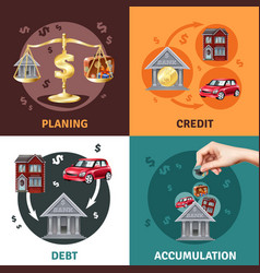 debt credit concept 4 flat icons vector image vector image