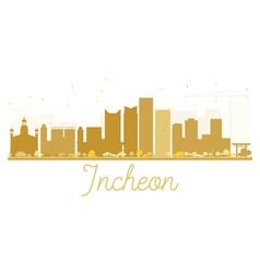 Incheon City skyline golden silhouette vector image