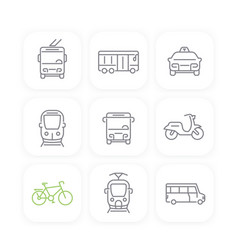 city transport bus taxi line icons set vector image vector image