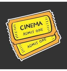 Colored tickets doodle drawing vector image