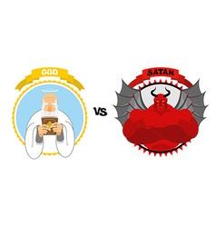 God vs Satan Good grandfather with white beard and vector image