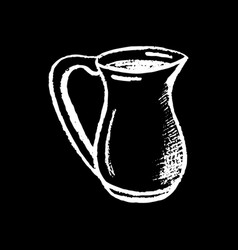 milk pitcher white chalk on black background milk vector image