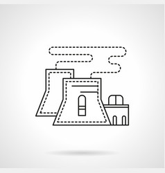 nuclear power plant flat line icon vector image