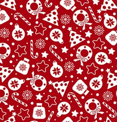 Red christmas pattern vector image vector image