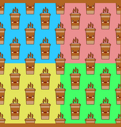 seamless pattern with coffee cup cute kawaii vector image