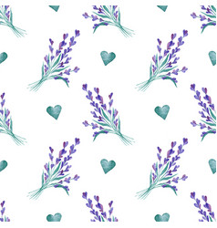 watercolor pattern with lavender hand vector image