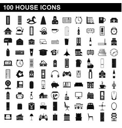 100 house icons set simple style vector image