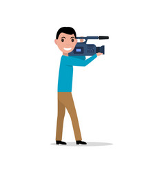 cartoon professional videographer vector image