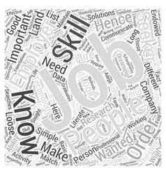Jh most wanted job skills word cloud concept vector