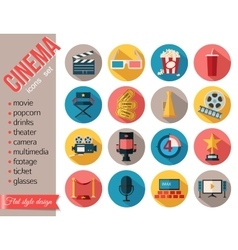 Movie and film icons set Flat style design vector image